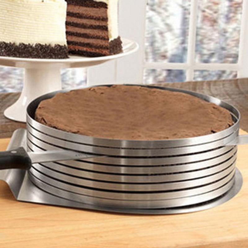 Herramienta de confitería ajustable de acero inoxidable, cortador de capas, cortador de pasteles, molde del círculo, herramientas de decoración de pasteles