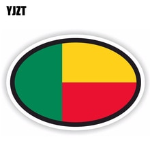 YJZT 14.4CM*9.6CM Car Sticker Benin Flag Oval Motorcycle Helmet Decal 6-1790