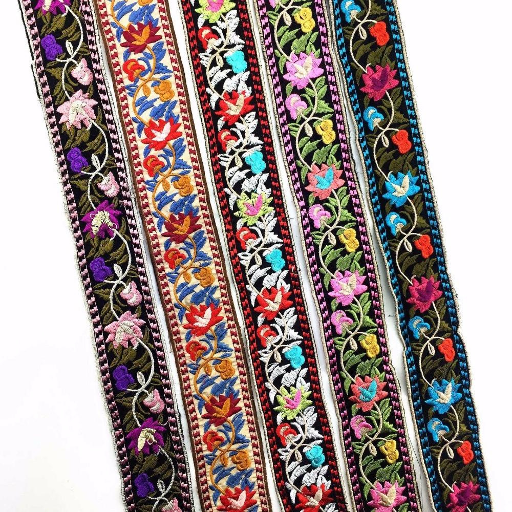 Винтажный Плетеный кружевной воротник в стиле бохо, с вышивкой, в этническом стиле, с жаккардовой лентой, шириной 5 см