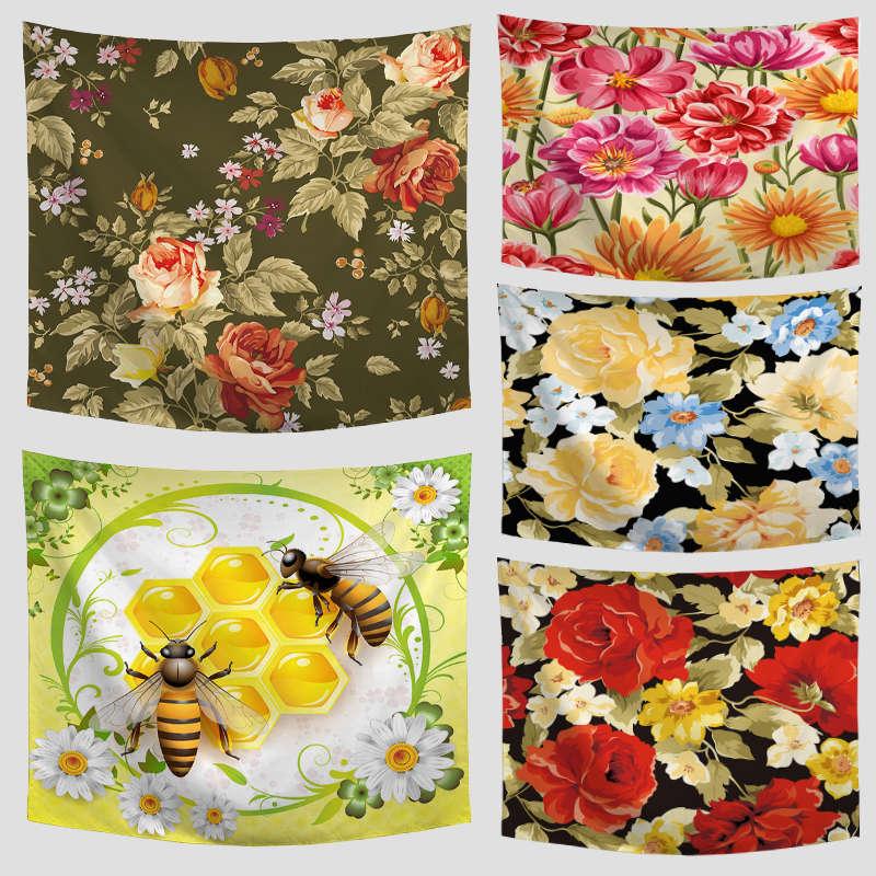 Colorido hermoso Flora plantas y 3D impreso tapiz de flores de crisantemo Rosa patrón de Orquídea mantel decoración de la habitación