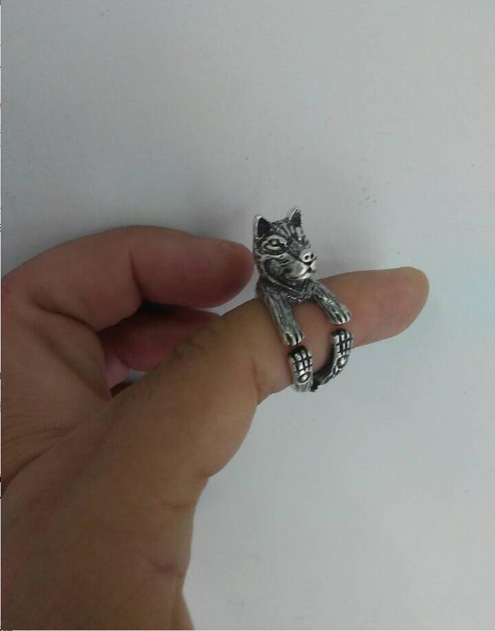 En gros Unique à la main Boho Chic rétro Husky anneau femelle et mâle amoureux des animaux de compagnie idée cadeau-12 pièces/lot