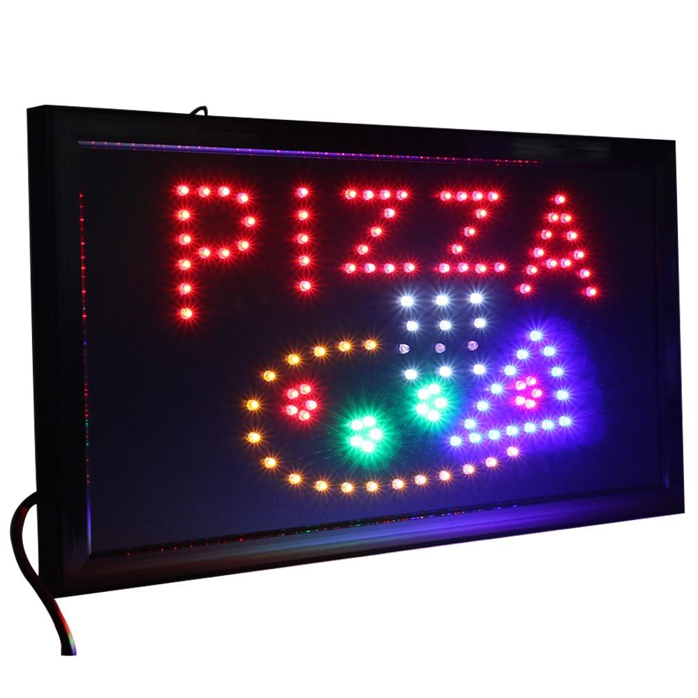 CHENXI-متجر بيتزا Led ، 21 نمطًا ، لافتات نيون مفتوحة داخلية ، حركة متحركة للجري 19*10 بوصة ، عرض طعام بيتزا