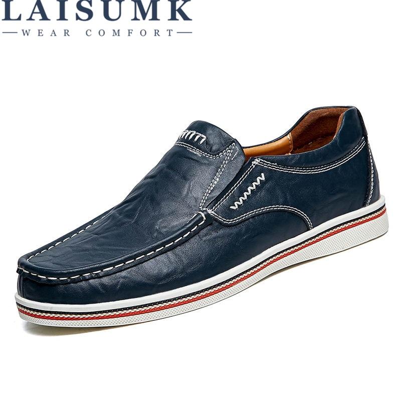 LAISUMK Brand Minimalist Design Split Leather Men Dress Shoes Hot Sell Mens British Style Boat Shoes Big Size Driving Man Flats