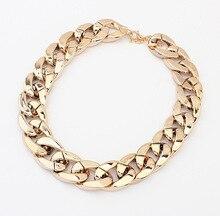 3 couleurs vente chaude grande marée à la mode or grosse chaîne colliers de luxe magnifique CCB Simple Punk déclaration colliers femmes