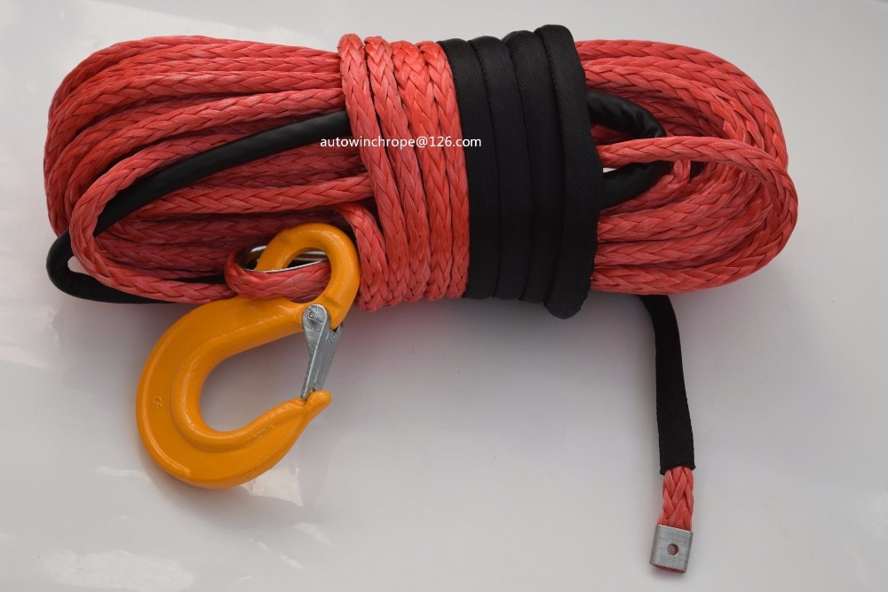 Red 14mm*45m Synthetic Rope,UHMWPE Winch Rope,ATV off-road Racing RopeWinch Cable