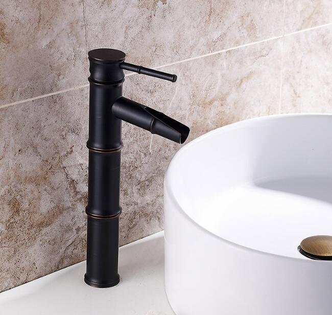 Grifo de lavabo de latón antiguo negro de un solo agujero de alta calidad con diseño de forma de Bambú