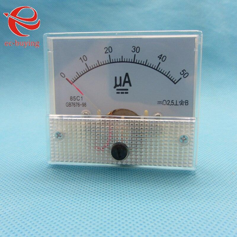 Mediador 0-50ua do medidor de frequência do amperímetro amperimétrico amperimétrico medidor atual analógico do ampère do ampère de 50ua da c.c.