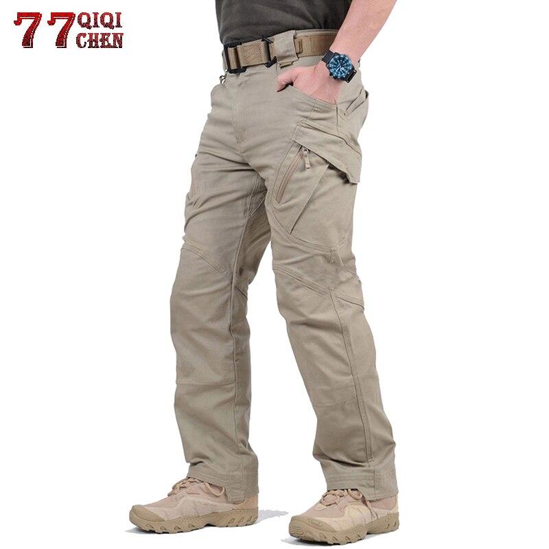 Pantalones tácticos a prueba de agua estilo militar pantalones Cargo hombres algodón IX9 Multi-Bolsillo cremallera pantalones de combate de talla grande S-5XL