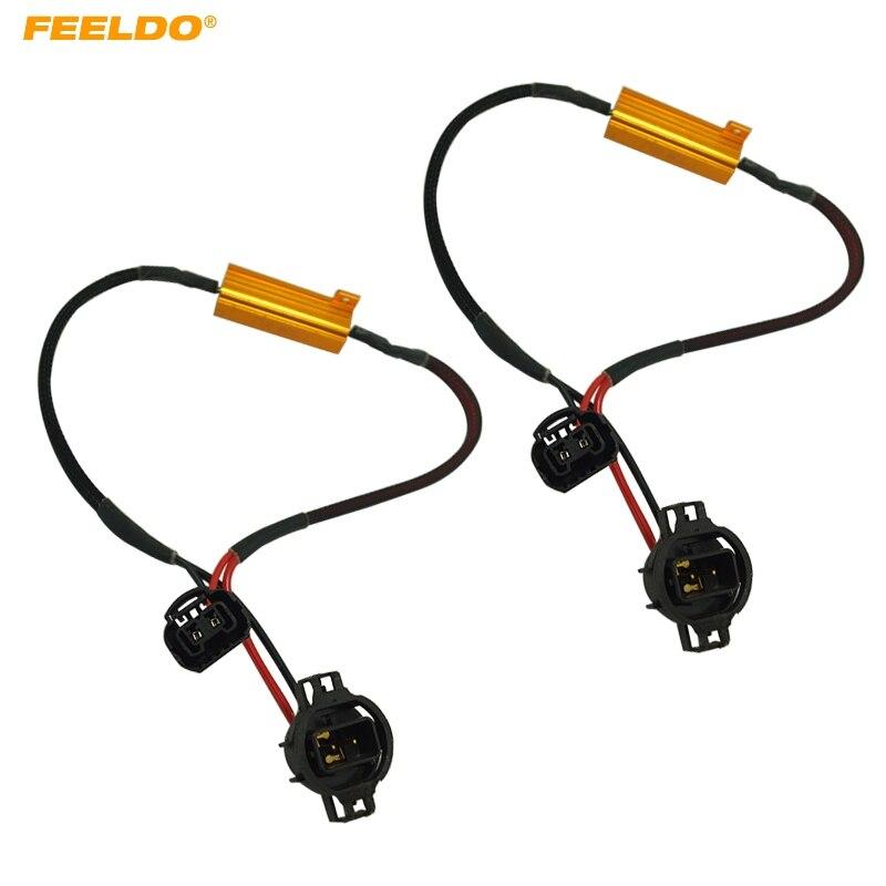 FEELDO 2 uds 50w 6ohm 12V H16 luz LED antiniebla Xenon HID DRL bombilla decodificador Resistor Canbus cable arnés adaptador # AM5341