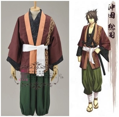¡Anime! Hakuouki Okita Souji uniforme Cosplay disfraz Halloween carnaval Hanfu para hombres envío gratis