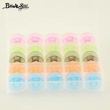 Цветная коробка для хранения 25 ячеек Pellucid с 25 шт. пустые цветные катушки Шпулька для швейной машины Brother Janome Singer Elna