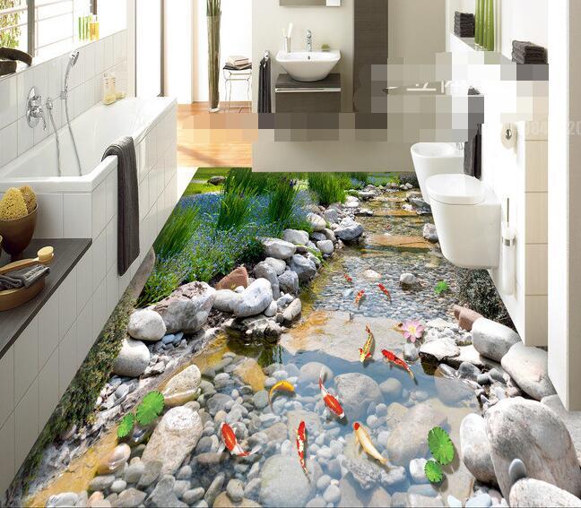 3d ПВХ настенное покрытие, на заказ, бумага для настенного покрытия, рок-Крик-парка, карпа, 3 d, настенное покрытие для ванной комнаты, фотообои для стен 3d