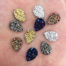 50pcs Shiny AB Resin 10*14mm Drop Irregular Surface Ore Crystal Flatback Rhinestone Ornaments DIY Wedding Appliques Craft W84