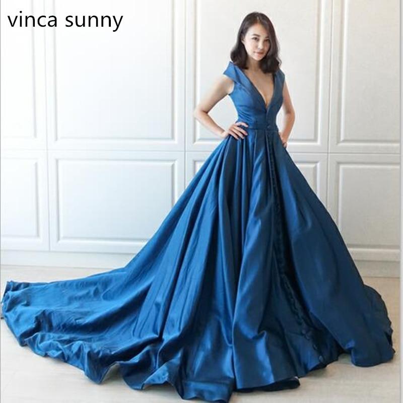 2020 vestidos de noche sexis de satén azul vestidos de celebridades hecho a medida vestido de baile plisado escote en V vestidos de baile