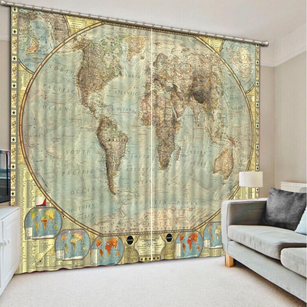 Cortinas de mapa morden cortina decoración 3D breve cortinas de árbol para dormitorio sala de estar cortina de poliéster