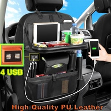 Support Dropshipping Luxury Car Seat Back Organizer Multi-Pocket PU Leather With 4 USB Charging Outl