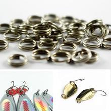 50 pièces en acier inoxydable fendu anneau diamètre de 6mm à 7mm pêche robuste Double anneau connecteur accessoires de pêche