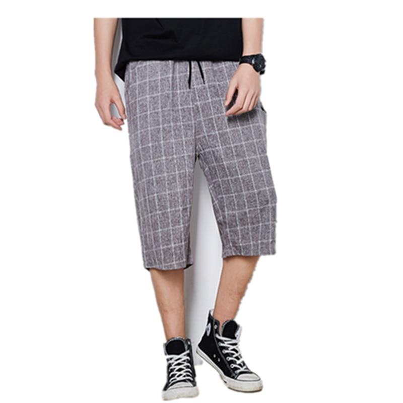 2019 High quality Summer loose shorts men wide-legged harem Mens shorts plaid casual shorts tide male cotton beach linen shorts
