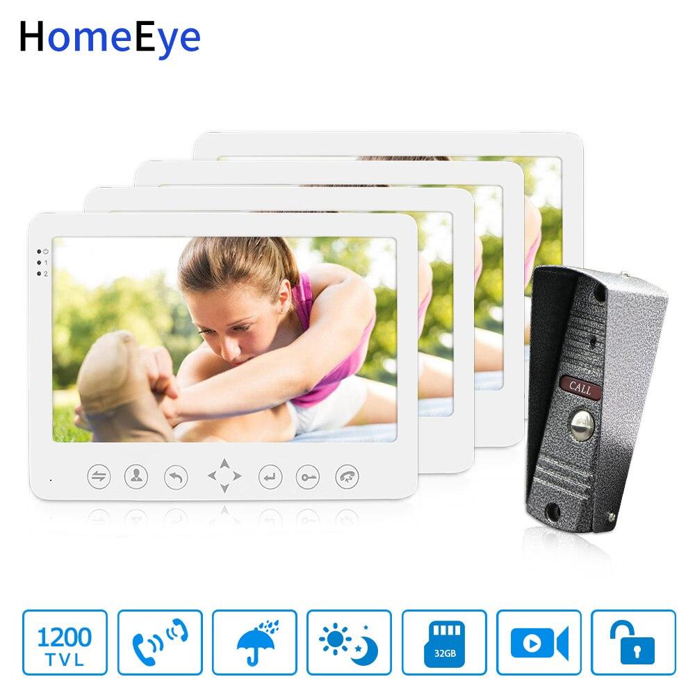 HomeEye 7 Puerta de vídeo teléfono Video intercomunicador timbre 1200TVL IP65 detección de movimiento a prueba de lluvia OSD menú 1-4 sistema de acceso de seguridad
