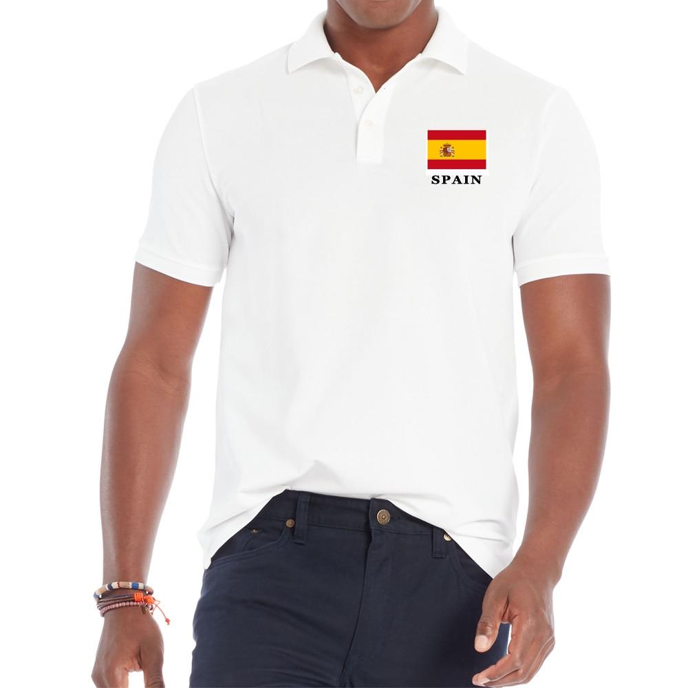 Camisa de cuello vuelto para hombres, estampado Bandera Nacional de España, camiseta de manga corta de algodón para hombres, ropa transpirable Casual para hombres