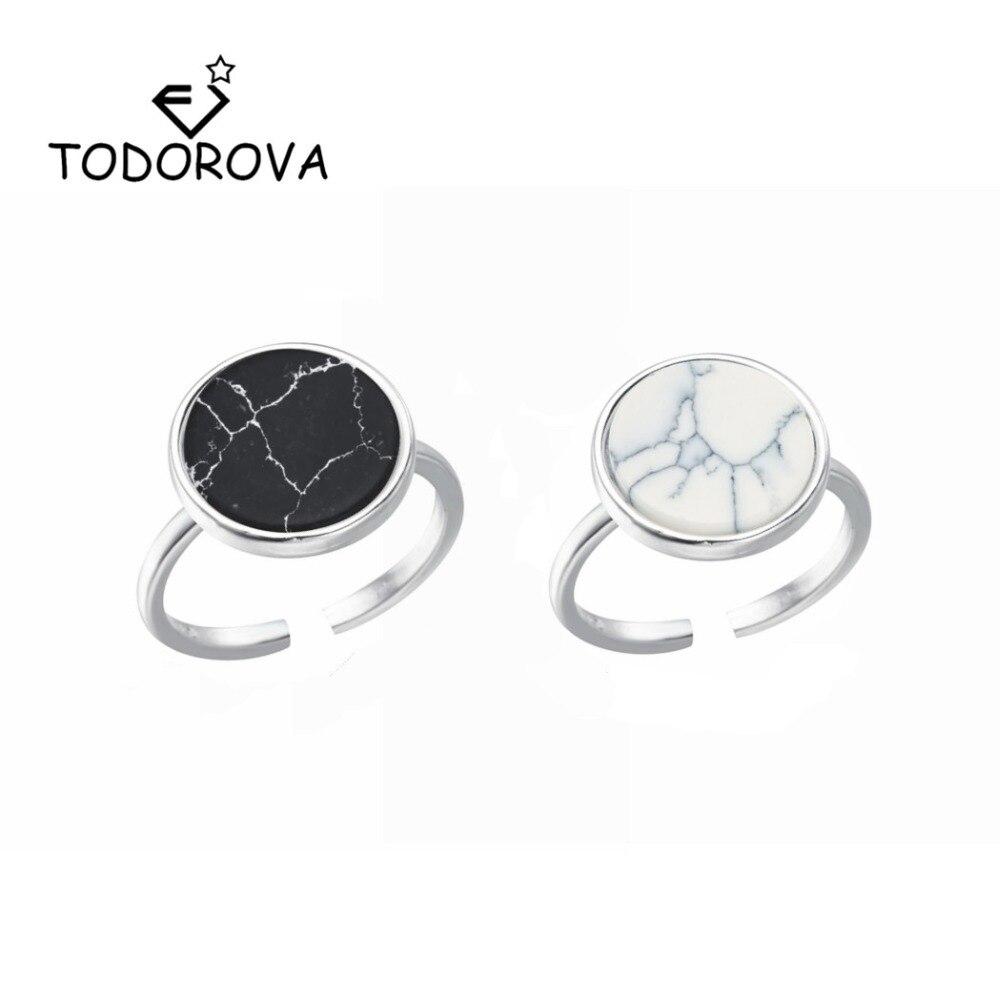 Todorova Minimalistischen Punk Schwarz Weiß Runde Geometrische Finger Ring Weiblichen Faux Marmoriert Stein Ringe für Frauen Männer anillos mujer