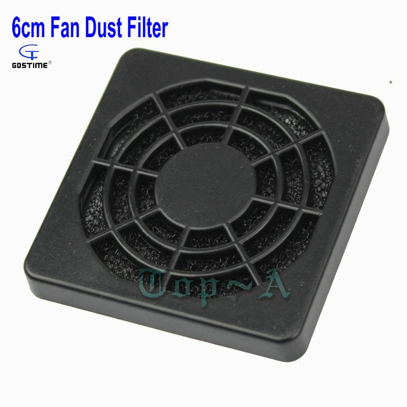 Gdstime 10 Pcs 60mm PC Computer Case Dustproof 6cm Cooler Fan Black Plastic Dust Filter