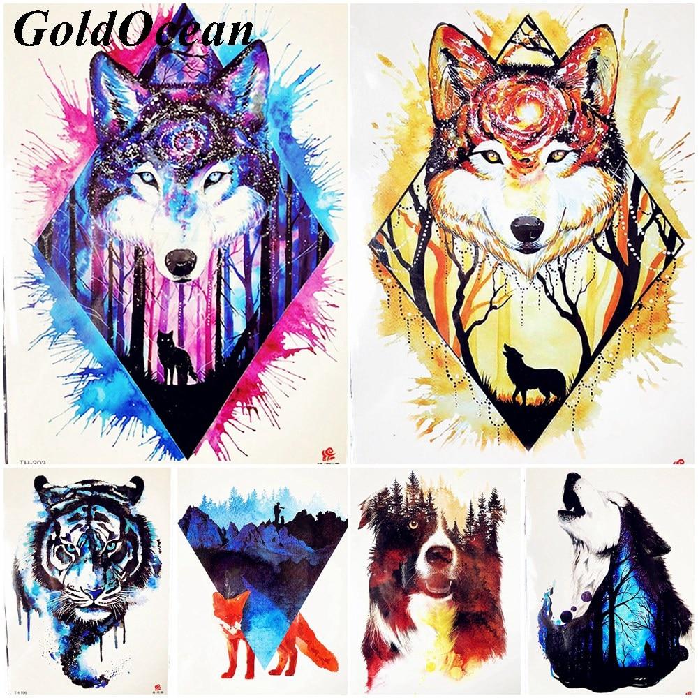 ¡Oferta! tatuaje temporal de acuarela geométrico de zorro amarillo para hombres, tatuaje fresco de bosque, tribu de lobo azul, tatuaje adhesivo cielo estrellado para mujeres, tatuaje para fiesta