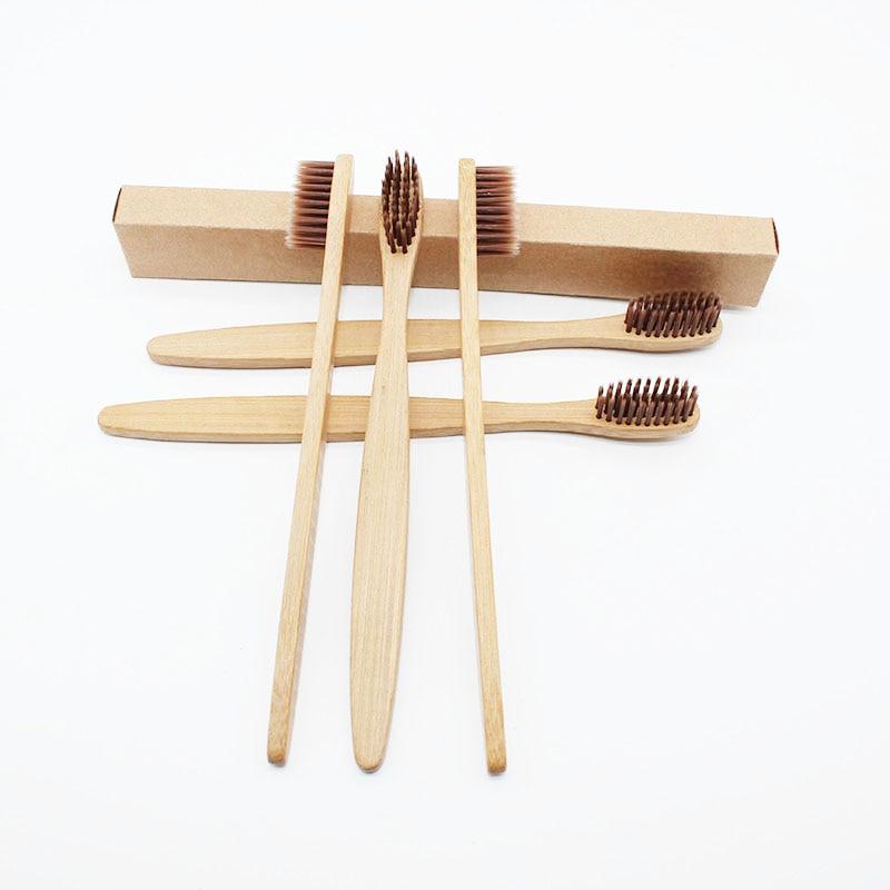 10 шт./лот, Бамбуковая зубная щетка, мягкая, Экологически чистая, для чистки полости рта