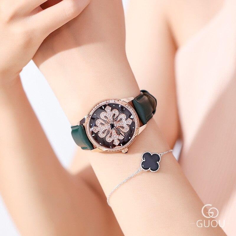 Super Fashion Rotation Women Watches Ladies New Casual Dress Watch Women Luxury leather Strap Quartz Watch Clocks Relogios enlarge