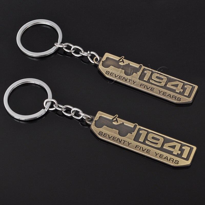 Car Keychain Keyring Key Ring Key Holder For Jeep Wrangler Grand Cherokee Renegade Compass 1941 75th Anniversary Badge Key Chain