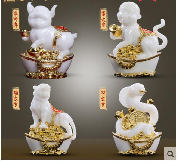 Real piedra blanca Cachemira arena oro brillante Jade artesanía rata buey Tigre caballo oveja mono, pollo perro decoración hogar