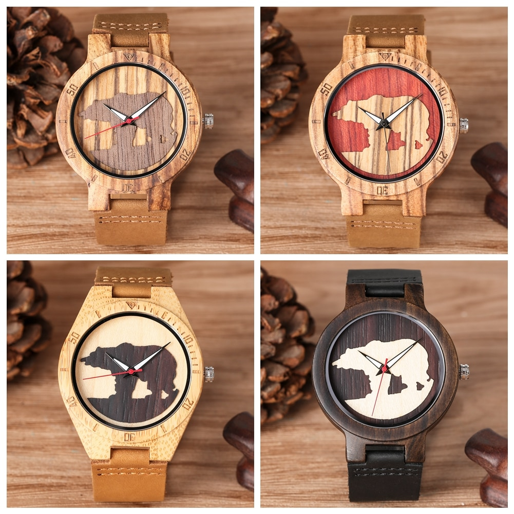YISUYA minimalista tridimensional Oso Polar patrón cuarzo Natural madera reloj para hombres función luminosa Relojes de Cuero regalo
