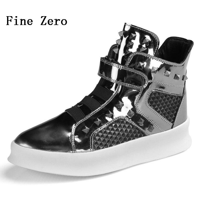 Winter Britsh Rivet High Top Shoes Street Personality Shiny Skateboarding Shoes Outdoor Sports Shoes Hook Loop Men's Sneaker