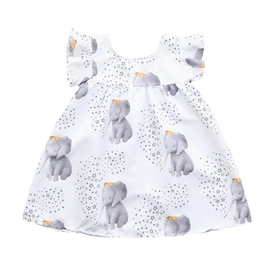 Платье для маленьких девочек; Платья с принтом слона и звезд; Одежда; Повседневные платья трапециевидной формы без рукавов с высокой талией