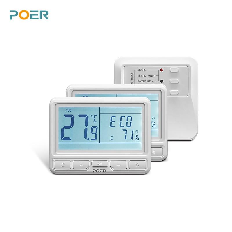Termostato para calefacción por suelo radiante controlador de temperatura inalámbrico de caldera termostato programable para el hogar con 2 termostatos
