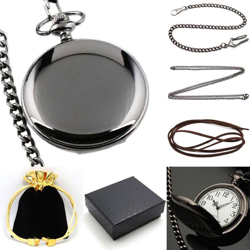 Yisuya preto suave quartzo bolso relógio presente conjunto steampunk com fob corrente colar caixa