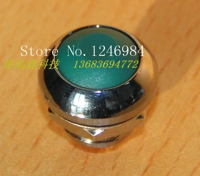 [SA]M12 مفتاح مقاوم للماء إعادة تعيين زر تايوان ديلي وي PAS6 حافة معدنية بيضاء قفل-زر أخضر مستدير-20 قطعة/الوحدة