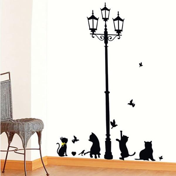 Gran oferta adhesivos removibles para pared sala de estar escaleras dormitorio decoración gato negro calle pegatinas papel tapiz