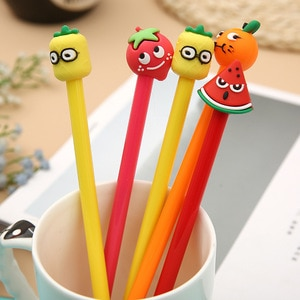 20 pcs Fruit shape Neutral Pen simple and lovely Orange Strawberry Black Water Student Stationery