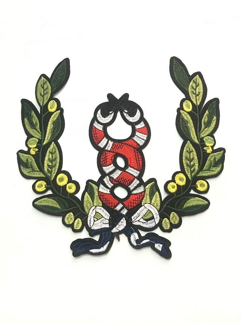 1 sztuk podwójny wąż łuk liście łatka w stylu vintage haftowane aplikacja moda odzież dekoracji sew na poprawki akcesoria Motif łatka