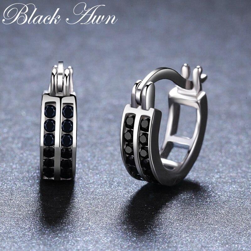 Regalo de Cumpleaños 925 plata esterlina cuadrado espinela negra pendientes de compromiso de moda para mujeres joyería fina bisutería I019