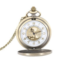 Antique Vintage Roman Number Quartz Pocket Watch Round Case Pendant Necklace Chain Clock Gifts LXH