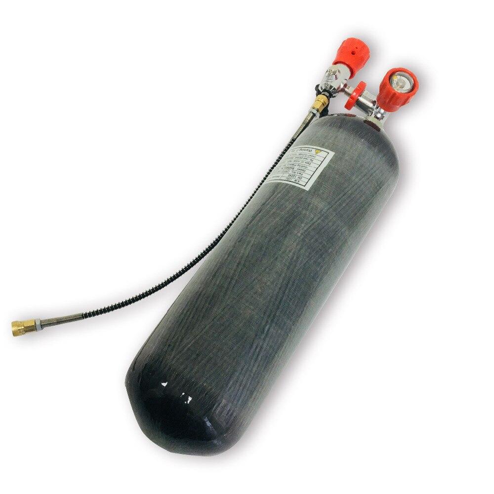 AC168101 4500Psi 6.8L CE cilindro de fibra de carbono Paintball tanque PCP Rifle de aire con válvula de seguridad roja y estación de llenado Acecare
