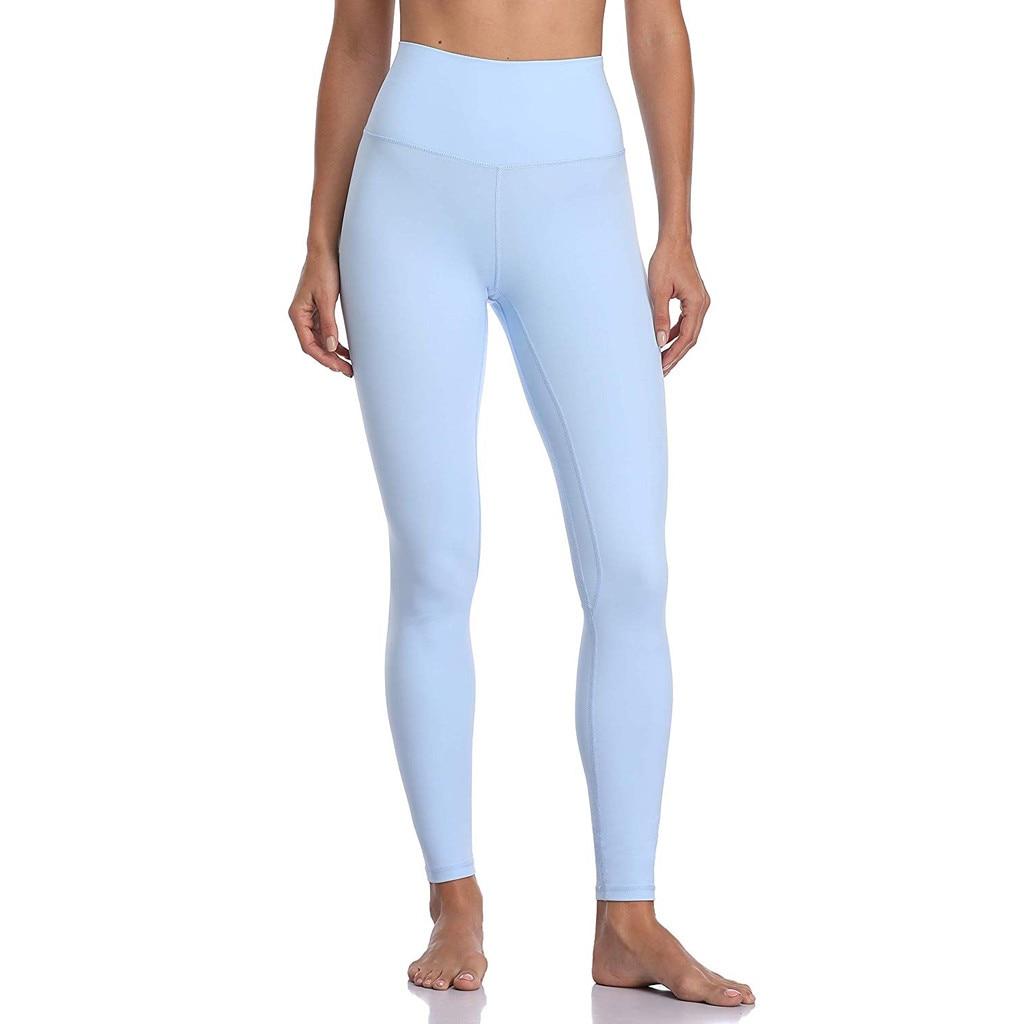 Feitong calça legging feminina, cor sólida, fitness, quadril, calças atléticas, slim, cintura alta, casual, azul claro, plus