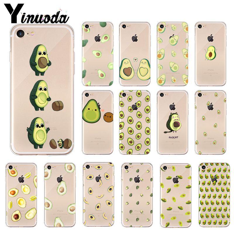 Funda Yinuoda de dibujos animados de aguacate lindo colorido accesorios para teléfono iPhone 8 7 6 6S Plus 5 5S SE XR X XS MAX Coque Shell