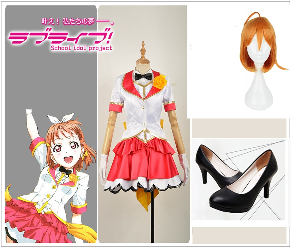 ¡Amor! ¡sol! Aqoins Palgantong Tickets Future Takami Chika Cosplay disfraz personalizado manga corta chica vestido peluca zapatos