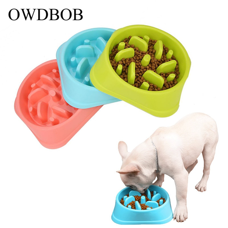 Fuente de alimentación de perro mascota Anti Choke OWDBOB, cuencos de comida para cachorros, comida lenta, comedero, plato, comida saludable, suministros para perros de compañía
