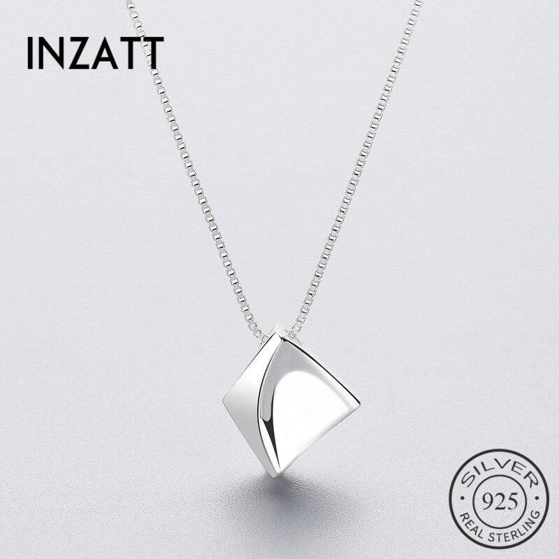 Inzatt iregular geométrica caixa corrente pingente colar real 925 prata esterlina jóias finas para festa feminina bijoux