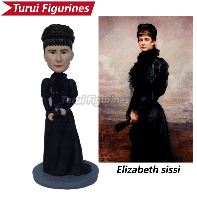 Miss elizabeth sissi estatueta mini estatueta artesanal argila polímero miniatura personalizar bobblehead bonecas para seus presentes