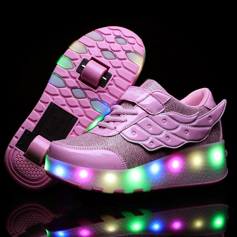 Zapatillas ligeras Con doble rueda para niño y niña, Zapatos informales Con...